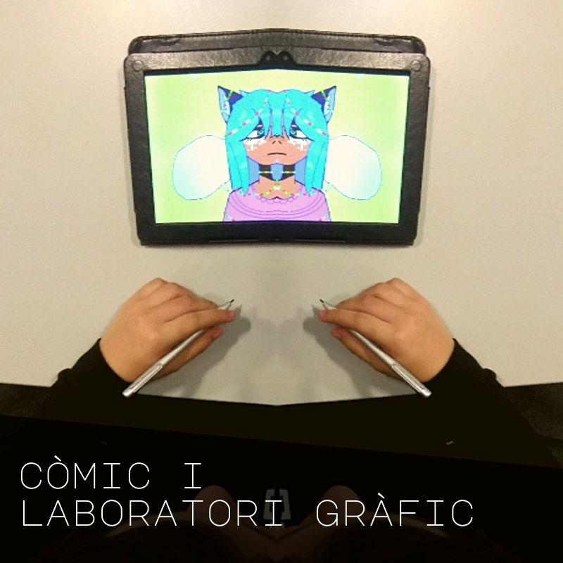 Jove dibuixant amb una tableta gràfica