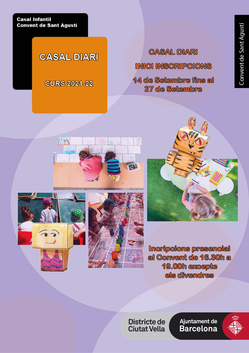 cartell amb fotografies dels infants realitzant activitats creatives i jocs