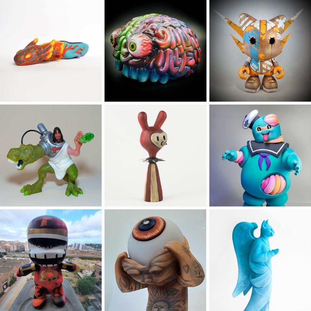 composició de fotografies de les joguines de l'exposició.