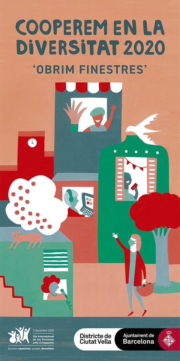 Cartell de l'edició 2020 amb una il·lustració en colors vius d'un barri, amb gent fora i dins les cases, desenvolupant diverses activitats (teletreballant, fent la compra, etc.)