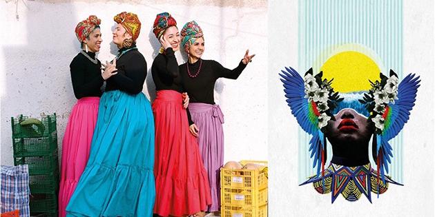 a la foto es veuen les quatre artistes que formen Mancha e Platano i un collage realitzat per Patricia alSur