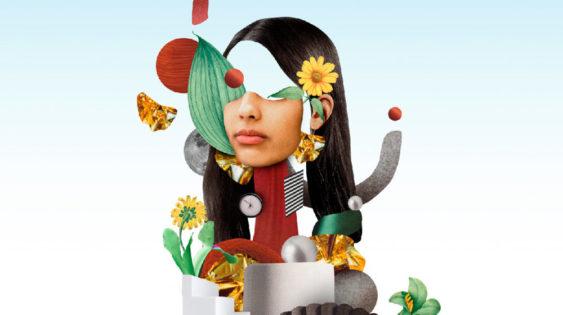 collage d'imatges que configuren la cara d'una persona. Imatge de campanya de la biennal del pensament 2020