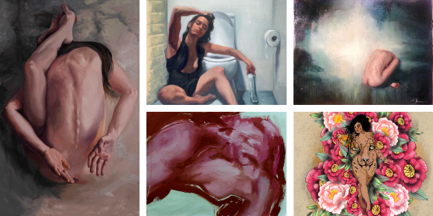 collage d'obres d'artistes participants: Alba Romera Antar Atma Vidya Raffaella Freyre Friday Egle Nutautaite Ortiz Rebirth Sofia Zuluaga Sublimate Bymireiaesteban Pachamama