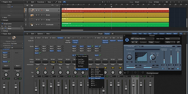 interface del software logic pro