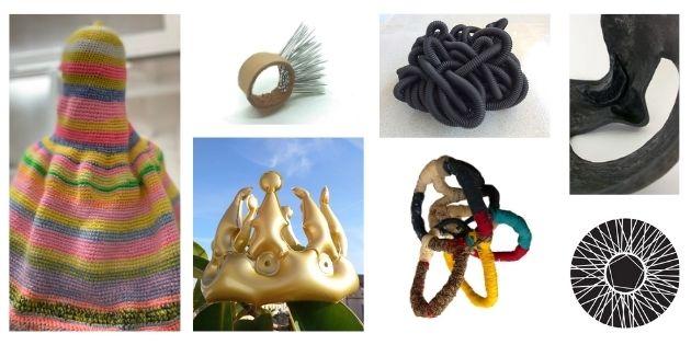 collage amb obres d'escultura del col·lectiu pentaculo.