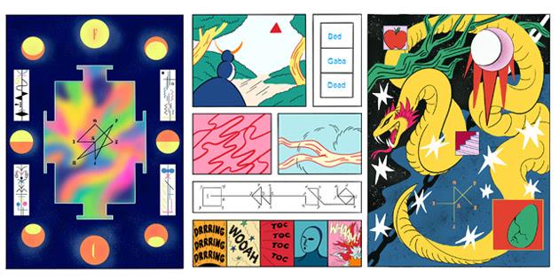 collage amb tres partitures gràfiques de l'exposició